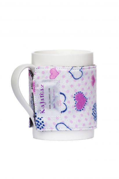 Mug Jamz ''Širdelių snaigės'' - flisinis ir flanelinis aksesuaras puodeliui