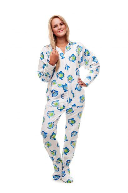 Kajamaz naktinės pelėdos: flanelinė pižama-kombinezonas suaugusiems