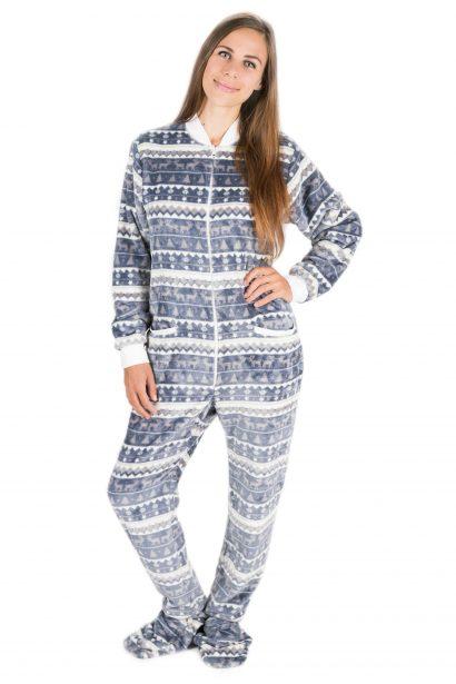 Silver Christmas Kajamaz: Footed Pajamas For Adults